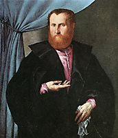 Portrait of a Man in Black Silk Cloak, c.1535, lotto