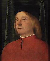 Portrait of a young man in red garment, c.1503, lotto