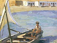 Boat with Sail (Panormos, Tinos), 1926, lytras