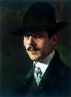 Portrait of painter Oumvertos Argyros, 1903, lytras