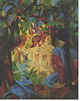 Bathing girls with town in the backgraund, 1913, macke