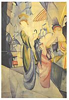 Bright woman in front of a hat store, 1913, macke