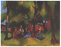 Children and sunny trees, 1913, macke