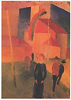 Church Decorated with Flags, 1914, macke