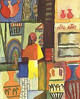 Dealer with jugs, 1914, macke