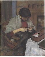 Elisabeth Gerhard sewing, 1909, macke