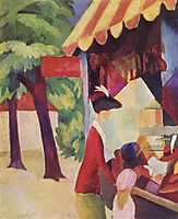 In front of the hat shop (woman with red jacket and child), 1913, macke