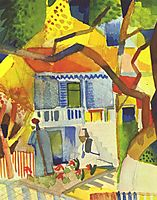 Inner courtyard of house in St. Germain, 1914, macke