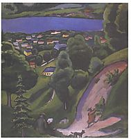 Landscape on the Teggernsee with a reading man, 1910, macke
