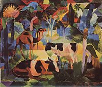 Landscape with Cows and a Camel , macke