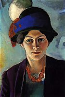 Portrait of the artist-s wife with a hat, 1909, macke