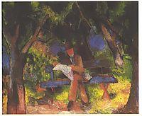 Reading man in park, 1914, macke