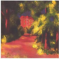 Red house in park, 1914, macke