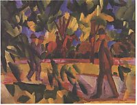 Riders and walkers at a parkway, 1914, macke
