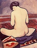 Seated female with a pillow, macke