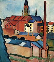 St. Mary-s with Houses and Chimney (Bonn), 1911, macke