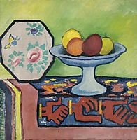 Still life with bowl of apples and Japanese fan, macke