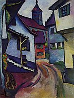 Street with church in Kandern, 1911, macke