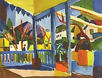Terrace of the country house in St. Germain, 1914, macke
