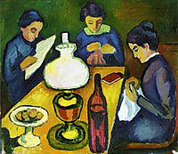 Three Women at the Table by the Lamp, 1912, macke