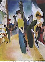 Two women in front of a hat shop, 1914, macke