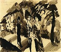 Two Women and a Man on an Avenue, 1914, macke