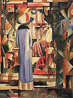 Woman in front of a large illuminated window, macke