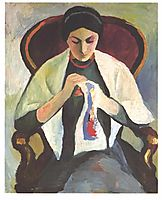 Woman Sewing, macke