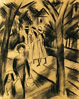 Woman with Child and Girls on a Road, 1913, macke