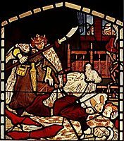 The Death of Sir Tristan, from -The Story of Tristan and Isolde-, William Morris & Co., madoxbrown