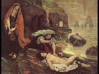 The Finding of Don Juan by Haidee, 1869, madoxbrown