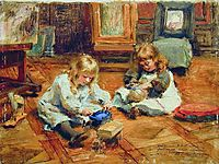 Children playing in the Workshop, c.1880, makovsky