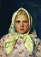 Girl in a Kerchief (Portrait of the Girl), c.1870, makovsky