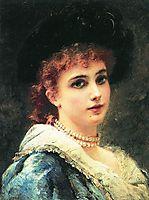 Parisienne in pearl necklace, c.1890, makovsky