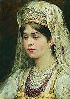 Portrait of the Girl in a Russian Dress, makovsky