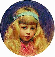 Portrait of the Girl with a Blue Ribbon in a Hair, c.1890, makovsky
