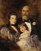 Volkov-s Family. Group Portrait of M.S.Volkov, S.N.Volkova and S.M.Volkov-Manzei, c.1890, makovsky
