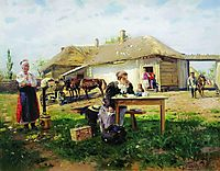Arrival of a School Mistress in the Countryside, 1897, makovskyvladimir
