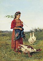 A girl with geese, 1875, makovskyvladimir
