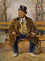 Portrait of a man sitting on a park bench, 1917, makovskyvladimir