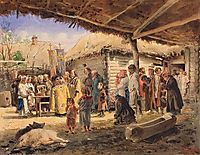 Prayer service at the farm in Ukraine, 1886, makovskyvladimir