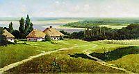Ukrainian landscape with huts, 1901, makovskyvladimir