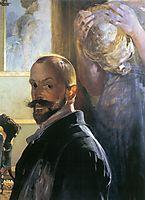 Self-portrait with skull, malczewski