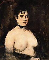 Brunette with bare breasts, 1872, manet
