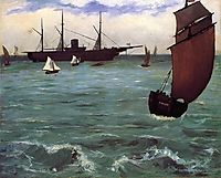 Fishing boat coming in before the wind (The Kearsarge in Boulogne), 1864, manet