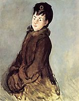Isabelle Lemonnier with a muff, c.1880, manet