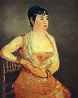 Jeanne Martin in pink dress, manet
