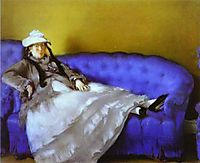 Madame Manet on a Blue Sofa, manet