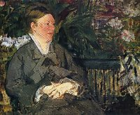 Madame Manet in conservatory, 1879, manet