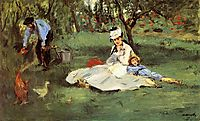 The Monet family in their garden at Argenteuil, 1874, manet